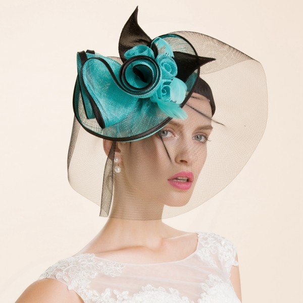 Women s girls luxury turquoise black patchwork with sinamay pill box hats  with veil wedding bridal fascinators wedding party hats ea32f22b9ee