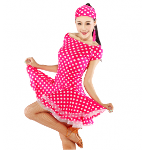 Women's girls polka dot printed latin dance dress set latin dance top latin skirt