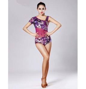 Women's girls purple violet green floral sexy one shoulder  short sleeves latin dance top ballroom dance leotard top