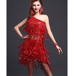 Women's girls red fuchsia  tassels fringe sequined paillette  one shoulder top and skirt latin dance dresses salsa samba rumba dance dress set