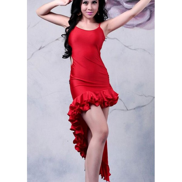 c19051a75 Women's girls red sexy fashionable irregular ruffles hem length latin dance  dresses samba salsa dance dress