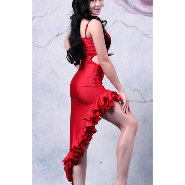 cdedd2e410d Women s girls red sexy fashionable irregular ruffles hem length latin dance  dresses samba salsa dance dress