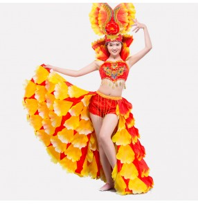 Women's girls red yellow turquoise high quality modern Spanish bull dance costumes stage performance dance costumes dresses top and skirts with hat