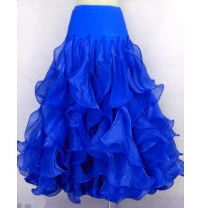 Women's girls  royal blue red turquoise royal  blue ruffles full skirted standard competition ballroom dance skirt foxtrot tango waltz dance skirts