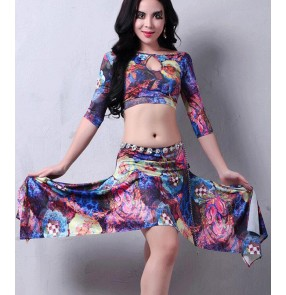 Women's girls sexy fashionable  floral belly dance costumes dance clothes set top and skirt ( not including diamond waistband)
