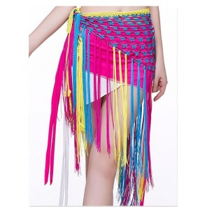 Women's girls triangle long tassel  hip scarf belly dance costume mix colors ( only hip scarf)