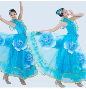 Women's girls turquoise flower ruffles sequined hem modern big full skirted modern dance dresses stage opening dance performance dancewear