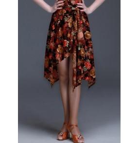 Women's girls velvet gold floral flower luxury triangle latin  samba salsa cha cha skirts dance hip scarf skirts