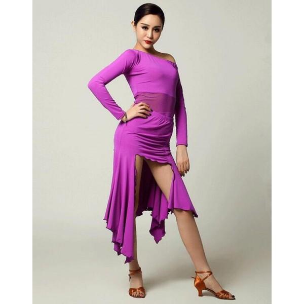 a0a45c76ad42c Women's girls violet fuchsia black irregular hem long sleeves round neck latin  dance dresses samba salsa dance dress set top and skirt S-XXL