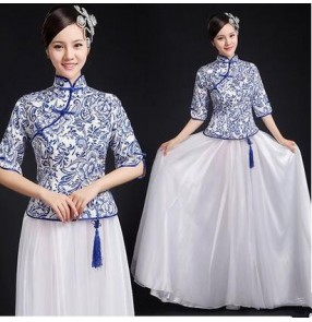 Women's girls white and blue china Chinese traditional dance costumes stage performance cheongsam dresses clothes S-XXXL