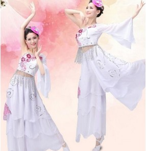 Women's girls white embroidery pattern one  shoulder sleeves Folk dance ancient traditional stage performance dance costumes dance wear for ladies