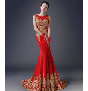 Women's gold embroidery rhinestone decoration long length mermaid red evening dress party wedding dress