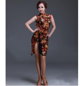 Women's gold flower cheongsam backless latin salsa dance dress