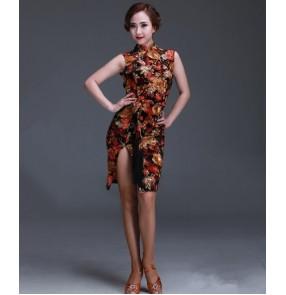 Women's gold flower cheongsam backless latin salsa dance dress
