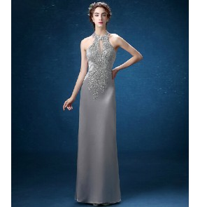 Women's gray silver beaded decoration halter evening dress wedding party dress