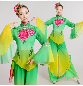 Women's green yellow gradient color patchwork embroidery flower Chinese folk fan dance costumes dresses traditional ancient dance clothes stage performance dance wear