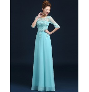 Women's half sleeves appliques lace and chiffon long evening dress wedding party dress turquoise