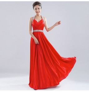 Women's halter off shoulder A-line beaded diamond royal blue wine red turquoise wedding party bridal dress evening dress