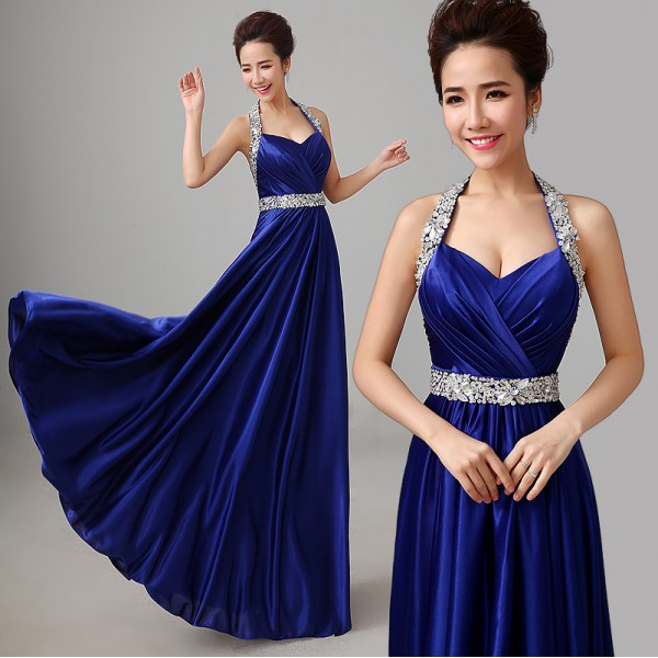 5c798d2e264f Women s halter off shoulder A-line beaded diamond royal blue wine red  turquoise wedding party bridal dress evening dress