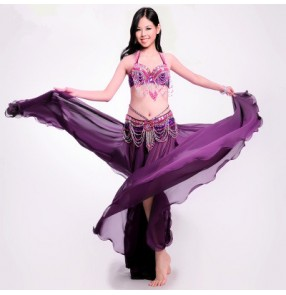 Women's indian Egypt  sexy belly dance costume sets  bra skirt  waistband big swing skirt