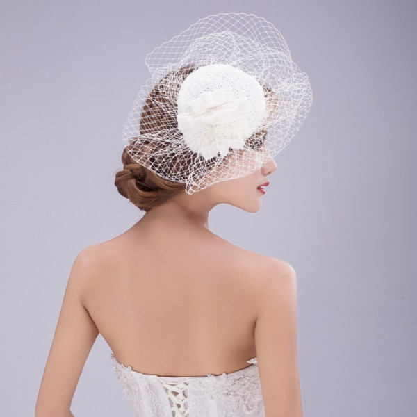 051998a28b64d Women s ivory lace veil wedding party evening bridal cocktail wedding party  fascinators veil hats headdress hats fedoras