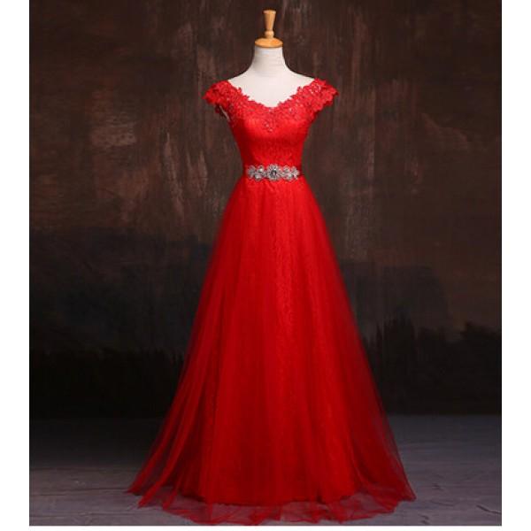 Women 39 s lace a line long evening dress party wedding dress for Red wine wedding dress
