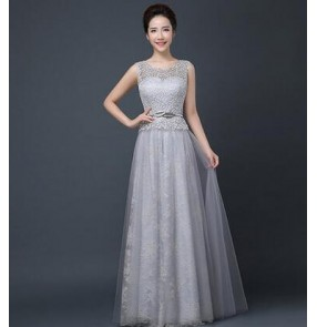 Women's lace and organza fabric patchwork silver long length A-ling double shoulder evening wedding party bridal dresses