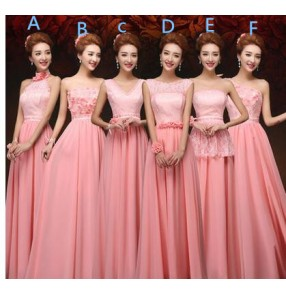 Women's lace appliques flowers coral bridesmaid dress wedding party bridal dresses several styles one color