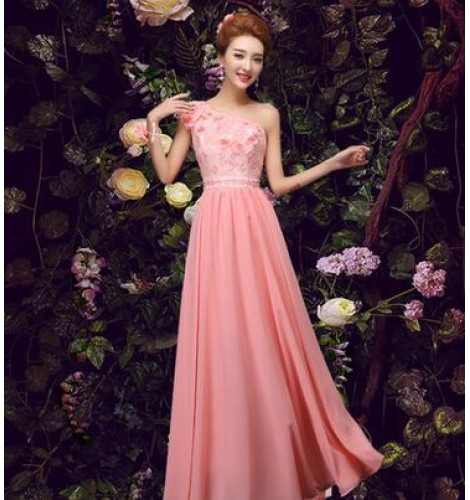 Coral Wedding Gowns: Women's Lace Appliques Flowers Coral Bridesmaid Dress