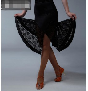 Women's lace hem irregular hem latin dance skirt