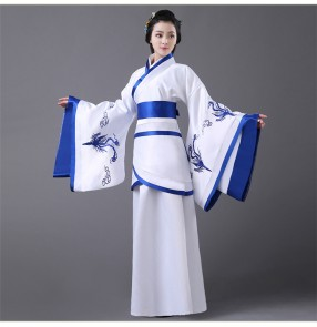 Women's ladies black blue violet green Chinese folk dance costumes ancient cos play stage performance classical dresses