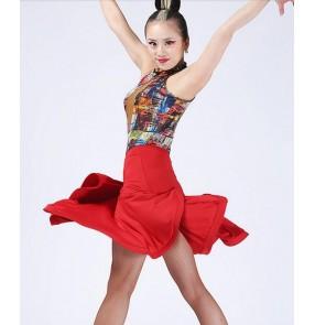 Women's ladies black red geometry rainbow printed sleeveless backless halter necklineswing hem skirt leotard top bodysuit latin dance ballroom samba salsa cha cha dance dresses split set
