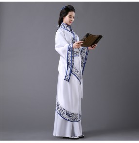 Women's ladies blue and white long length classical ancient Chinese  folk dance dresses cos play fairy stage performance costumes