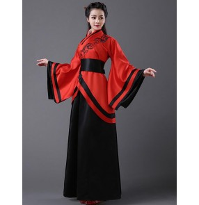 Women's ladies blue and white , red and black patchwork ancient Chinese classical traditional folk dance costumes stage performance cos play dynasty fairy dresses