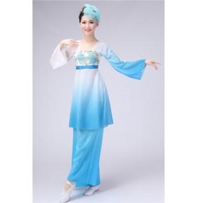 Women's ladies blue fuchsia gradient color Chinese folk dance fan dance traditional Classic ancient dance costumes sets
