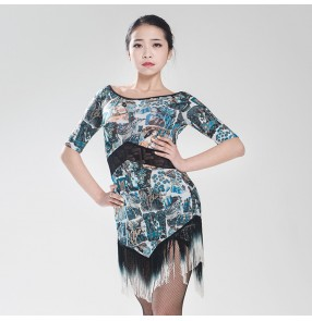Women's ladies blue printed floral middle long sleeves fringes latin dance dress salsa samba rumba jive cha cha dance dresses