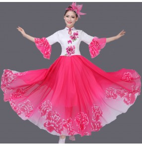 Women's ladies chinese folk dance dresses traditional ancient yangko fans dance costumes cos play blue fuchsia red green