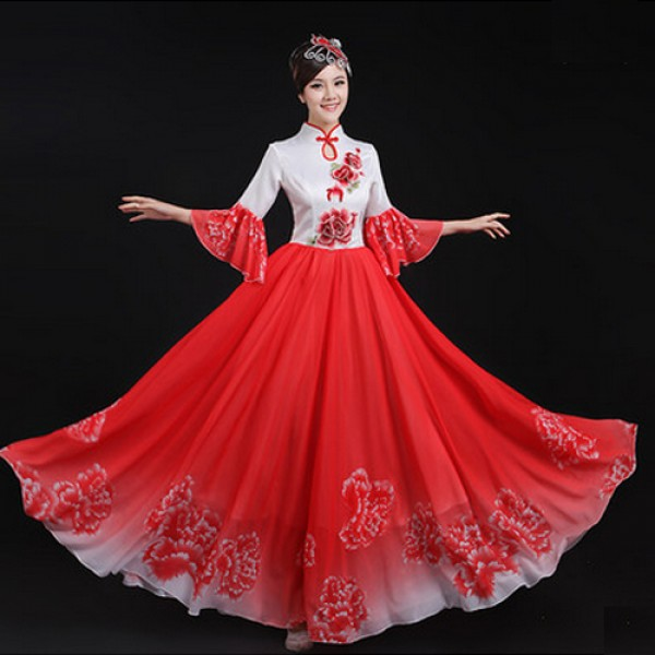 72879ead8 Women's ladies chinese folk dance dresses traditional ancient yangko fans dance  costumes cos play blue fuchsia red green