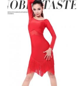 Women's ladies fashionable sexy long sleeves red black  latin salsa samba dance dresses