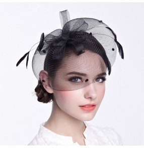 421addf4 Women's ladies female black ivory sinamay fascinators veil wedding party  bridal evening party hats fedoras hair