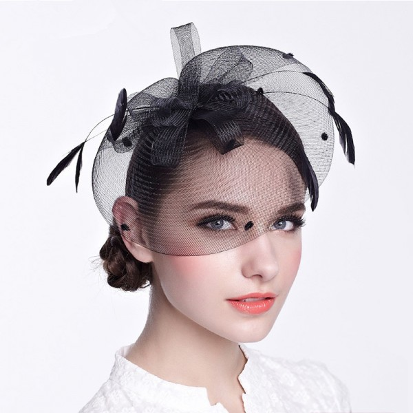 Women s ladies female black ivory sinamay fascinators veil wedding party  bridal evening party hats fedoras hair clip headdress hats c6dc9ee07ca