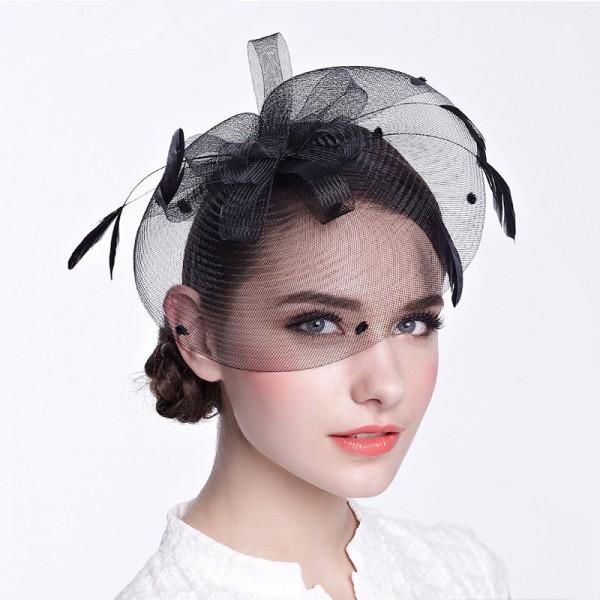 ee10a8720efab Women s ladies female black ivory sinamay fascinators veil wedding party  bridal evening party hats fedoras hair clip headdress hats
