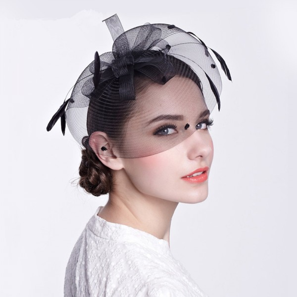 Women s ladies female black ivory sinamay fascinators veil wedding party  bridal evening party hats fedoras hair clip headdress hats 826c4d96175