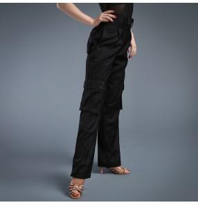 Women's ladies female black multi pockets wide leg straight ballroom latin dance long pants
