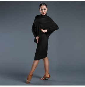 Women's ladies female black plus size turtle neck batwing long sleeves latin samba salsa dance dresses