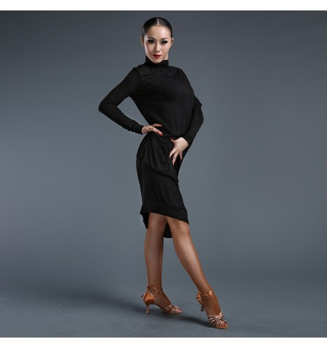 Women\'s ladies female black plus size turtle neck batwing long sleeves  latin samba salsa dance dresses