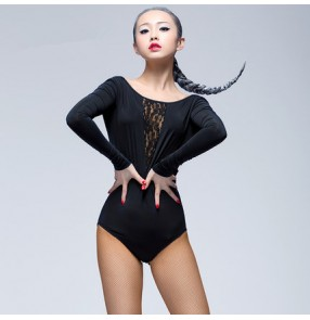 Women's ladies female black red lace patchwork long sleeves round neck backless competition exercises practice latin samba salsa cha cha body top jumpsuit leotard tops