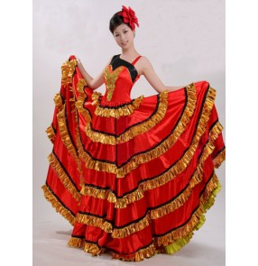 Women's ladies female black  sequins one shoulder sleeveless black red and gold striped patchwork swing skirt folk dance Spanish bull dance stage performance flamenco dance dresses costumes 540 degree