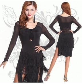 Women's ladies female black tassels fringe long sleeves sexy competition ballroom latin salsa cha cha dance dresses