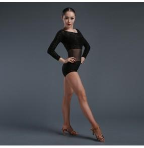 Women's ladies female black velvet flocking latin dance body top  exercise costumes top long sleeves